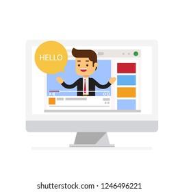 Businessman blogger video computer