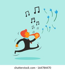 Businessman blow a whistle for music and flower