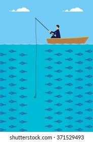 A businessman in a boat who is fishing but not getting a bite. A metaphor on being unsuccessful.