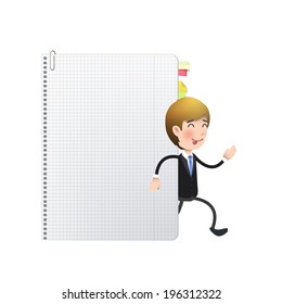 Businessman with book over white background