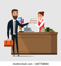 Businessman in bookstore flat vector illustration. Store customer and cheerful cashier, seller cartoon characters. Young man buying, returning books. Literature sale business, bookshop interior