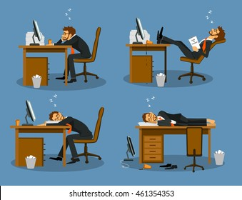 Businessman bored tired exhausted sleeping in the office scene Set. Humor office life