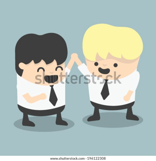businessman and boss high five Congratulate