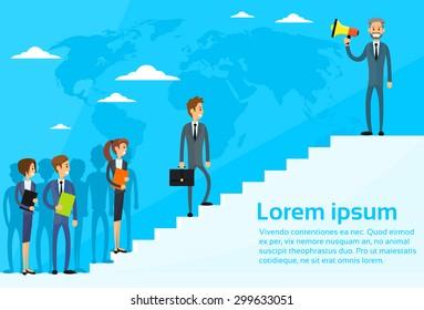 Businessman Boss Hold Megaphone Loudspeaker Colleagues Business People Team Group Walking Up Stairs Flat Vector Illustration