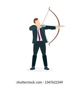 Businessman with bow and arrow. Male holding bow and arrow aiming to shoot. Archer with bow and arrow vector illustration. Part of set.