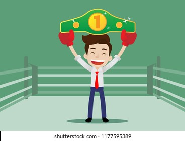 Businessman in boxing gloves holding championship belt standing on the boxing ring, Cartoon vector illustration