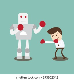 Businessman boxing robot - overcoming obstacles with courage