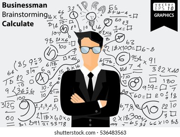 Businessman Brainstorming Calculate numbers modern design Idea and Concept Vector illustration  with icon,people.