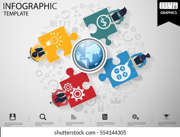 Businessman Brainstorming  per Jigsaw Pictures modern design Idea and Concept Vector illustration Infographic template with Earth,icon.