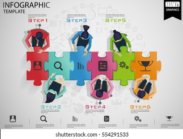 Businessman Brainstorming  per Jigsaw Pictures Step1-6 Success,modern design Idea and Concept Vector illustration Infographic template with icon.