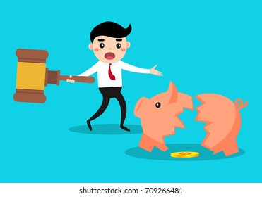 businessman breaking his piggy bank and showing poor money.