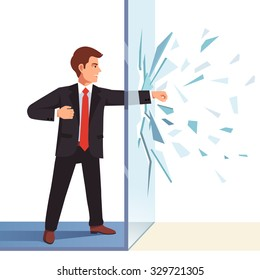 Businessman breaking through invisible glass wall. Flat style vector illustration isolated on white background.