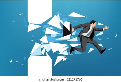 Businessman breaking through obstacle or escaping towards greater goal