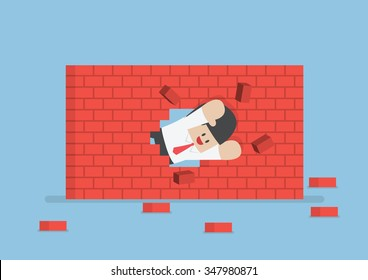 Businessman breaking through the wall, VECTOR, EPS10