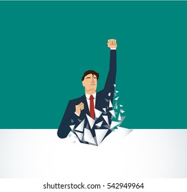 Businessman Breaking the wall. Business concept illustration.