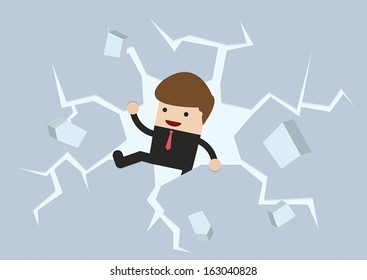 Businessman breaking the wall to Freedom, VECTOR, EPS10