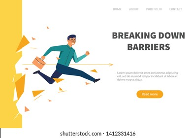Businessman breaking wall.  Web banner man overcomes the barrier. Business concept illustration.