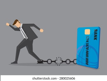 Businessman breaks free from the chain to bank credit card. Creative vector illustration for debt and financial freedom.