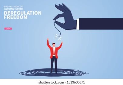 Businessman breaks free from tied rope