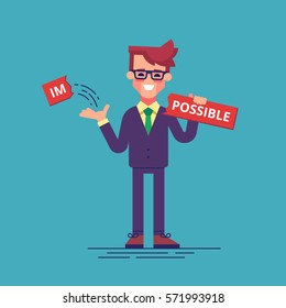 "Businessman breaks off a piece of the plate with the word ""impossible"" and gets the word ""possible"". Modern vector illustration."