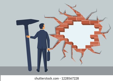 Businessman breaks wall. Man hitting wall with hammer, achievement way for success. Challenge concept. Breakthrough to goal. Leadership in business. Vector illustration flat design. Strong people.