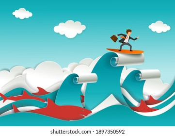 Businessman with briefcase accompanied by predatory shark fish surfing ocean waves. Vector illustration in paper art craft style. Challenge, business competitors concept.