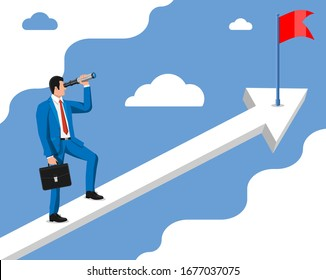 Businessman with briefcase looking for opportunities in spyglass. Business man look up to the target on chart ladder. Success, achievement, business vision career goal. Flat vector illustration