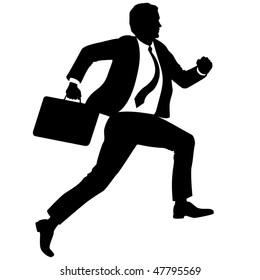 Businessman with briefcase run upstairs