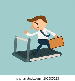 Businessman with a briefcase running on treadmill for money machine.  Earning money concept.