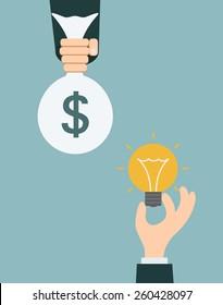 Businessman bring money exchange with idea, trading vector illustration.