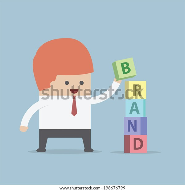 Businessman is building BRAND word, Brand building concept, VECTOR, EPS10