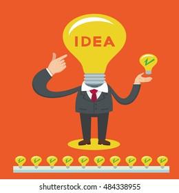 Businessman with bulb light head full of great ideas, vector illustration cartoon