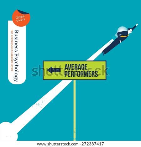 Businessman Bulb Rocket Flying Opposite Direction Stock
