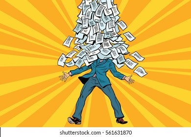 businessman and bureaucracy, a mountain of paperwork