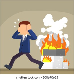 businessman with burned office task