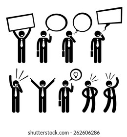 Businessman Business Man Talking Thinking Shouting Holding Placard Stick Figure Pictogram Icon