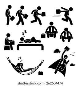 Businessman Business Man Walking Running Sleeping Flying Stick Figure Pictogram Icon