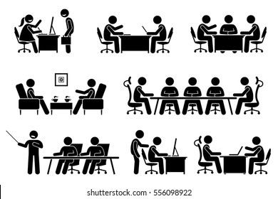 Businessman business meeting, conference, and discussion. The meet up are business proposal, brainstorming, annual general meeting, and presentation. They are marketeer, director, and entrepreneur.