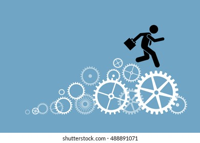 Businessman business person running on cogwheels. Vector artwork depict working, production, process, and engineering technology.