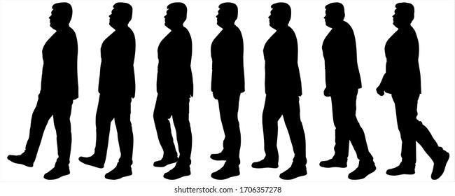 Businessman in a business suit in motion, moves. Man is in motion. Side view, profile. Set of seven silhouettes of large build young guys. Black silhouettes isolated on a white background. Bodyguard.