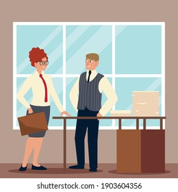 businessman and business woman with briefcase papers in box on desk working vector illustration