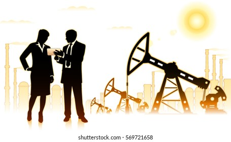 Businessman with business woman on background of oil factory