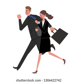 Businessman Business Woman running illustrations