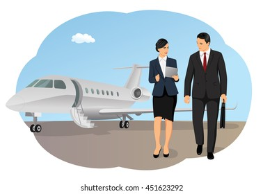 Businessman and businesswoman by airplane on runway. Private aircraft arrival. Working with portable devices.