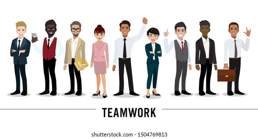 Businessman and businesswoman cartoon character on white background. Teamwork concept design. Flat vector illustration.