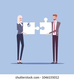 Businessman and businesswoman characters connect piece of jigsaw puzzle flat illustration. Man and woman in formal wear collects pieces of puzzle together. Business concept cooperation and integration