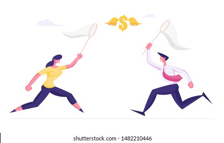 Businessman and Businesswoman Chasing Flying Dollar Sign Trying to Catch it with Butterfly Net. Financial Success Business Opportunity Wealth New Income Source Search. Cartoon Flat Vector Illustration