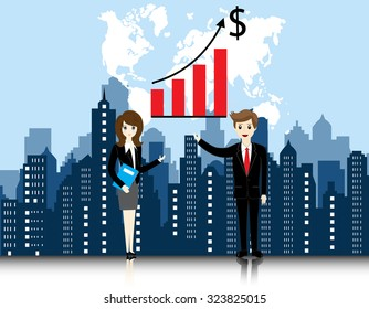 businessman and businesswoman with city landscape background