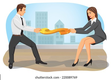 Businessman and businesswoman compete and pull a dollar sign. Both are greedy and do not concede.