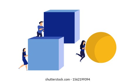 Businessman and businesswoman concept strategy competitor achievement vector with sphere and cube. Cleve leadership efficiency better move ball or box. Smart work performance progress goal forward